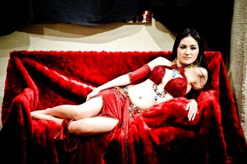 Red Qamarah lying down